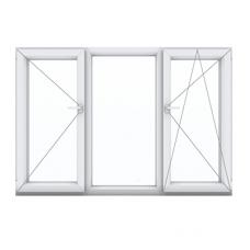 Трехстворчатое окно с одной поворотной и одной поворотно-откидной створками