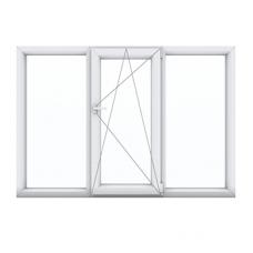 Трехстворчатое окно с одной поворотно-откидной створкой центр