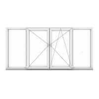 Четырехстворчатое окно с поворотной и поворотно-откидной створками